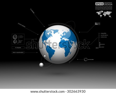 Modern infographic global template,Vector - stock vector