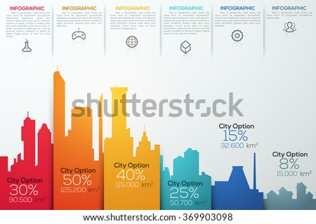 Modern infographic option banner with colorful city bar chart. Vector. Can be used for workflow layout, banner, diagram, web design, infographic template. - stock vector