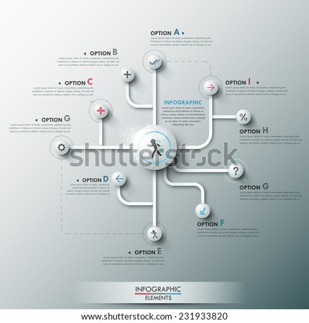 Modern infographic option banner with 3d circles, lines and icons on grey background. Vector. Can be used for web design and  workflow layout - stock vector