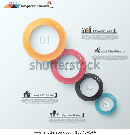 Modern infographic option banner with realistic colorful circles with shadows. Vector. Can be used for web design and  workflow layout - stock vector