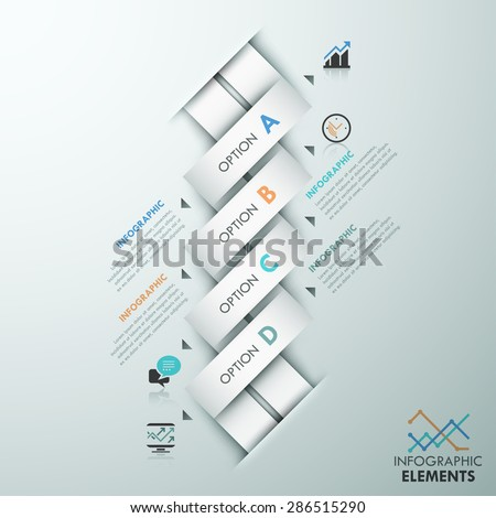 Modern infographic option template with 4 white weaved paper ribbons and icons on grey background. Vector. Can be used for web design and  workflow layout