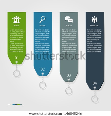 Modern Infographic ribbon, can be used for numbered banners, diagram, vertical cutout lines, number options, step up options, web template, illustration.