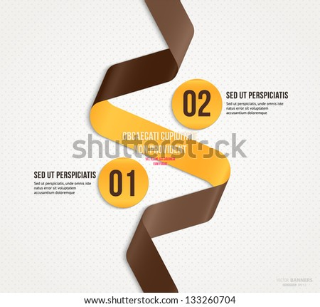 Modern infographic template for business design with ribbon. Can be used for banners, cards, paper designs, website layouts, diagrams and presentations. Vector eps10 illustration. - stock vector