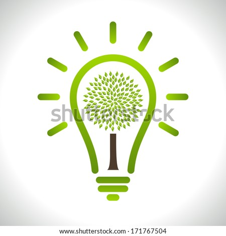 Modern infographic template. Light bulb with Green tree icon inside. Business Eco Concept Idea - stock vector