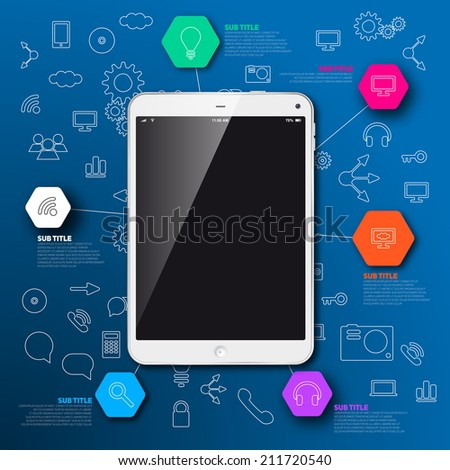 Modern infographic template, Realistic tablet with blue background icons, place for your content - stock vector