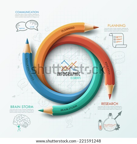Modern infographic template with 4 curved colorful pencils and hand drawn sketches on paper background.  Vector. Can be used for web design and  workflow layout - stock vector
