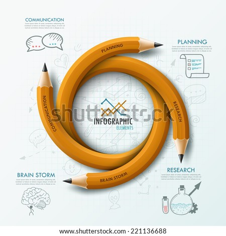 Modern infographic template with 4 curved pencils and hand drawn sketches on paper background.  Vector. Can be used for web design and  workflow layout - stock vector