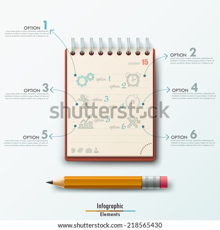 Modern infographic template with notepad and pencil on white background.  Vector. Can be used for web design and  workflow layout - stock vector