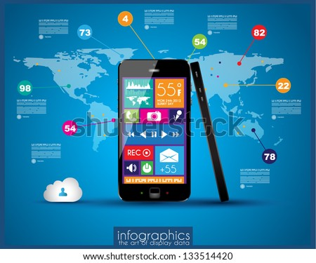 Modern Infographic with a touch screen smartphone in the middle. Design elements and space for text are available in single color squares over the screen. Cloud computng concept. - stock vector