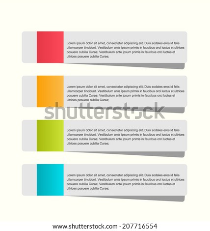 Modern infographics colorful web design template with shadow vector illustration.