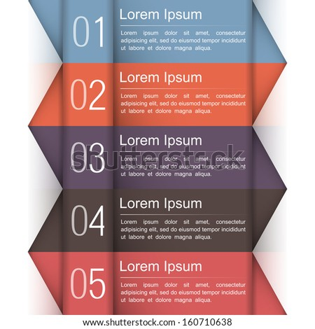 Modern infographics design template with five elements, vector eps10 illustration