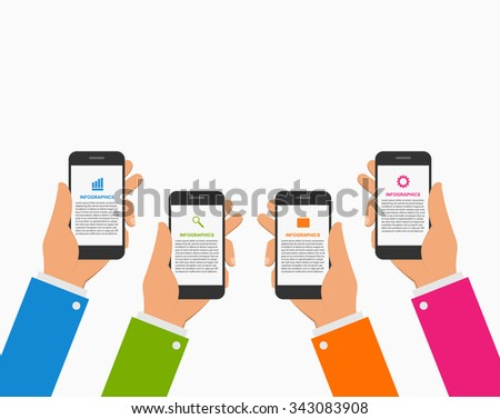 Modern infographics design template with human hands holding the mobile phone. Vector illustration. - stock vector