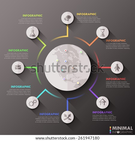 Modern infographics flat global template for 8 options. Vector. Can be used for workflow layout, banner, diagram, web design, infographic template. - stock vector