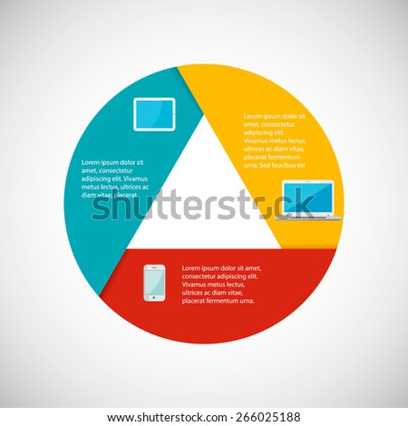 Modern infographics illustration IT technology. Gadgets with infographics. Infographics vector flat design template. Can be used for workflow layout, diagram, number options, web design - stock vector