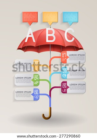 Modern infographics option banner, with red umbrella, EPS 10 contains transparency. - stock vector