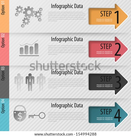 Modern infographics options banner with arrows. Vector. Can be used for web design and  workflow layout - stock vector