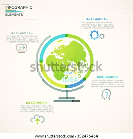 Modern infographics options banner with colorful globe planet in outline style. Vector. Can be used for web design and  workflow layout