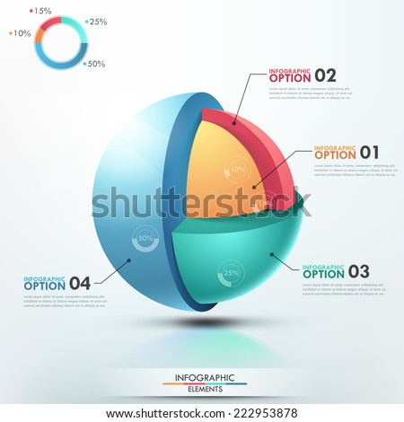 Modern infographics options banner with colorful sphere divided into 4 options. Vector. Can be used for web design and  workflow layout