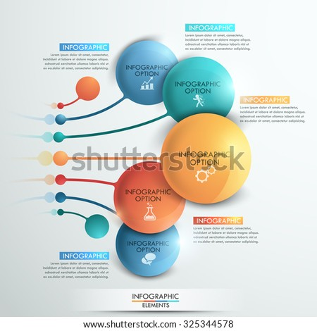 Modern infographics options banner with 5 colorful spheres and icons. Vector. Can be used for web design and  workflow layout - stock vector
