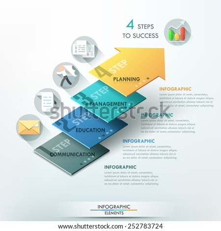 Modern infographics options banner with 3d colorful arrow divided into 4 parts. Vector. Can be used for web design and  workflow layout - stock vector
