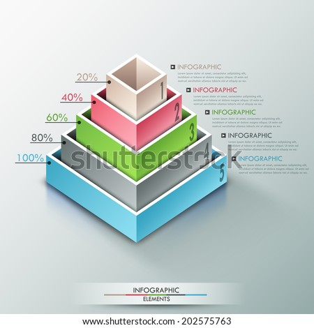 Modern infographics options banner with 3d pyramid for 5 options made of colorful blocks. Vector. Can be used for web design and  workflow layout