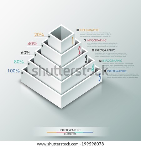 Modern infographics options banner with 3d pyramid for 5 options made of white blocks. Vector. Can be used for web design and  workflow layout