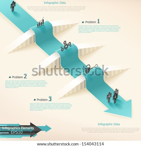 Modern infographics options banner with realistic arrow. Vector. Can be used for web design and  workflow layout - stock vector