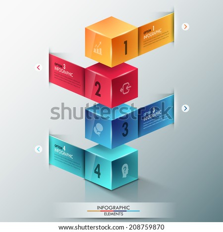 Modern infographics options banner with realistic colorful cubes and ribbons for 4 options. Vector. Can be used for web design and  workflow layout - stock vector