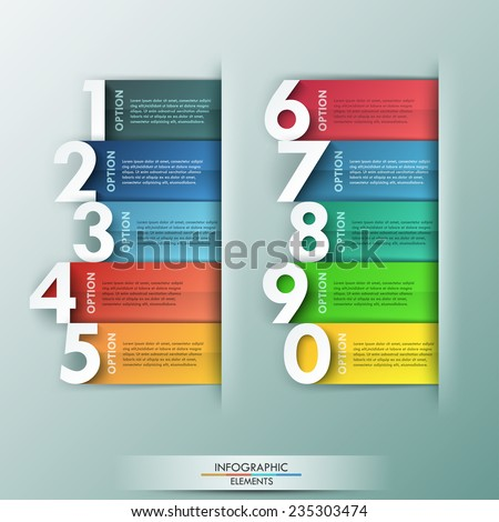 Modern infographics options banner with 10 realistic colorful ribbons and big numbers. Vector. Can be used for web design and  workflow layout - stock vector