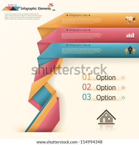 Modern infographics options banner with woven paper sheets. Vector. Can be used for web design and  workflow layout - stock vector