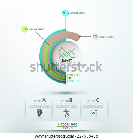 Modern infographics options template with 3 pie charts and icons. Vector. Can be used for web design and  workflow layout - stock vector