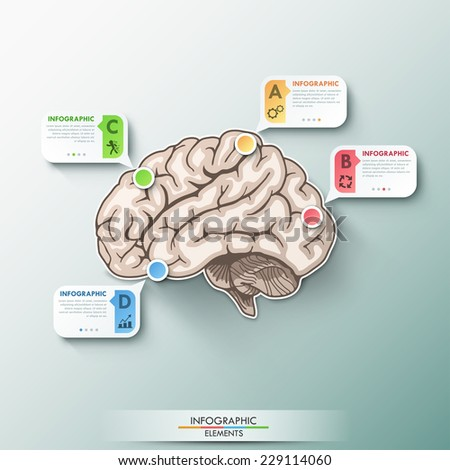 Modern infographics paper brain template for 4 options. Vector. Can be used for workflow layout, banner, diagram, web design, infographic template. - stock vector
