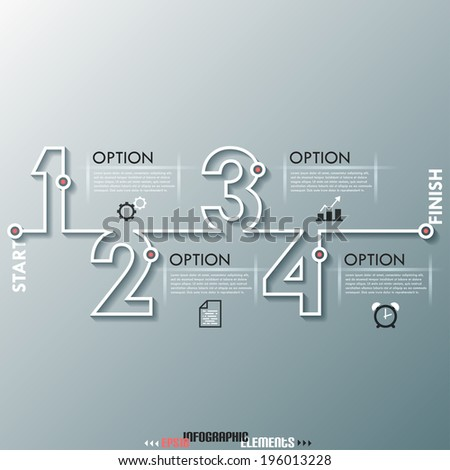 Modern infographics process template with numbers made of white line. Vector. Can be used for web design and  workflow layout - stock vector
