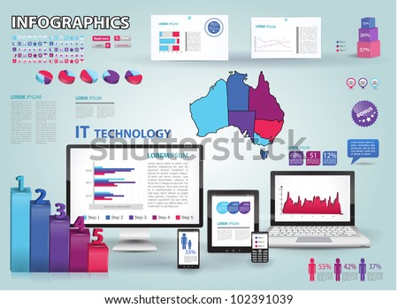 Modern infographics set and icons IT tehnology. Map of Australia and Information Graphics