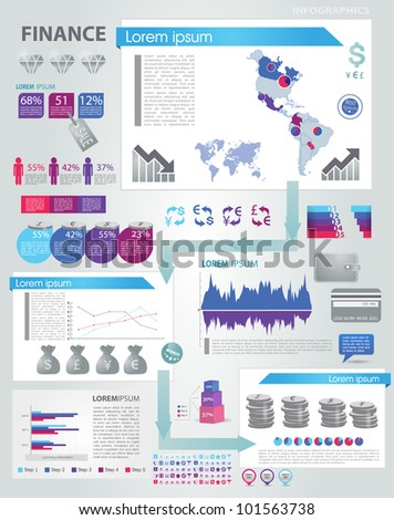 Modern infographics set. World and America Map  and Information Graphics with finance icons. Easy to edit - stock vector