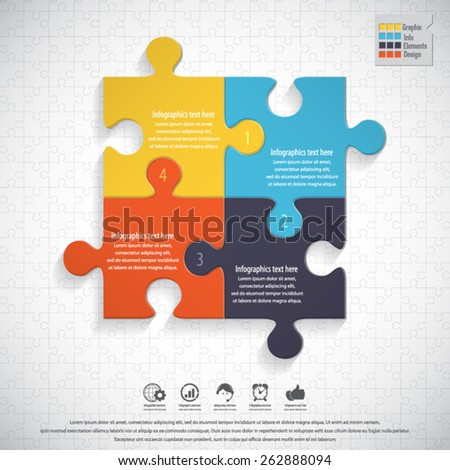 Modern infographics template on puzzle background. EPS 10 vector. - stock vector