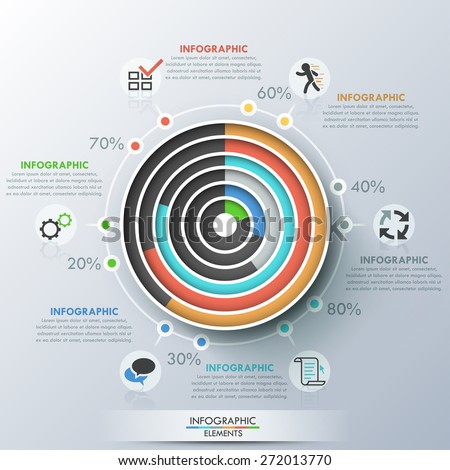Modern Infographics Template Paper Concentric Circles Stock Vector