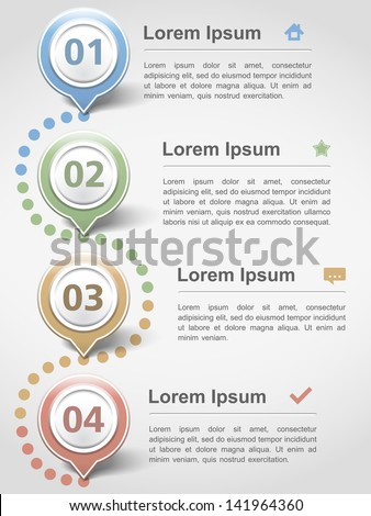 Modern inforgraphics design template with four elements, vector eps10 illustration - stock vector