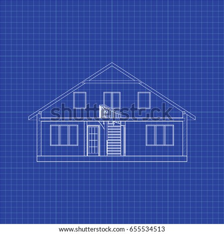 Modern interesting architectural background on graph stock vector modern interesting architectural background on graph paper cross section suburban house vector blueprint malvernweather Choice Image