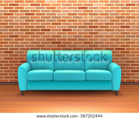 Modern Interior Brick Wall Home Decoration And Design Ideas With Vibrant Turquoise  Leather Sofa Realistic Vector