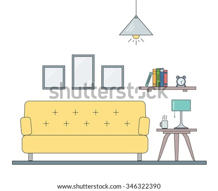 Modern interior design of living room in outline the flat style. Concept for website or infographic. - stock vector