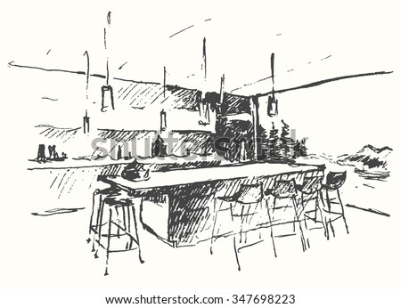 Restaurant Kitchen Hand modern interior illustration cozy bar restaurant stock vector