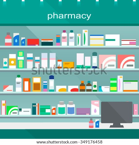 Modern interior pharmacy and drugstore. Sale of vitamins and medications. Vector  illustration. - stock vector