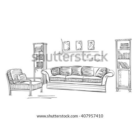 Modern Interior Room Sketch S Stock Vector Shutterstock