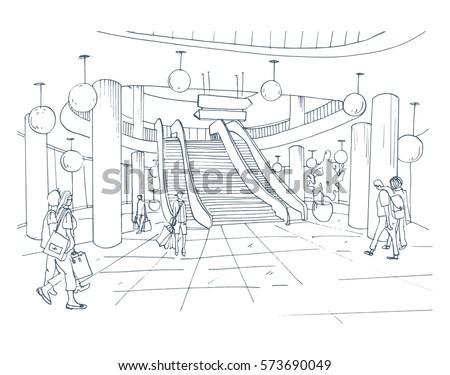 Modern Interior Shopping Center Mall Contour Sketch Illustration