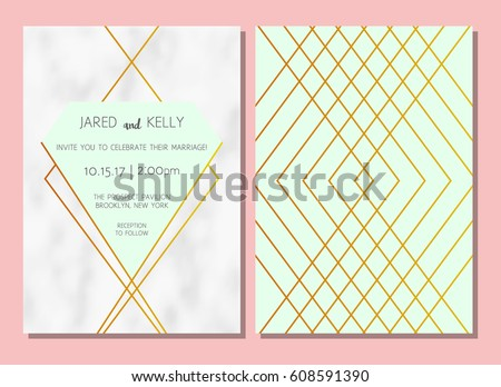 Modern invitation wedding vector geometric background stock vector modern invitation to the wedding vector geometric background with a pattern of marble with gold stopboris Choice Image