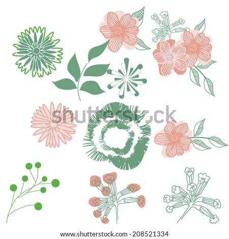 Modern isolated on white vector flowers