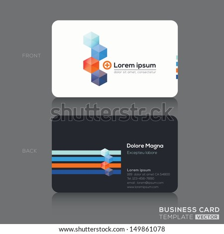 Modern Isometric Business cards Design Template - stock vector