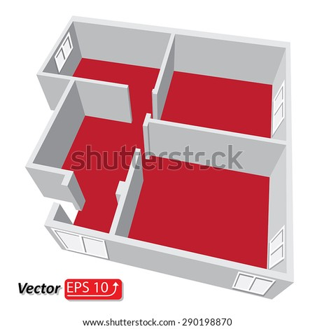Modern isometric cottage interior. Isometric open plan house.part of architectural project Ground Floor Plan Floorplan House Home Building Architecture Blueprint Layout Detailed plan. EPS10 vector - stock vector