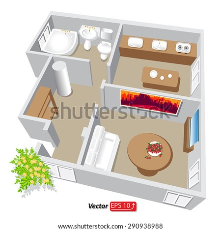 Modern isometric cottage interior. Isometric open plan house.part of architectural project Ground Floor Plan Floor plan House Home Building Architecture Blueprint Layout Detailed plan. EPS10 vector - stock vector